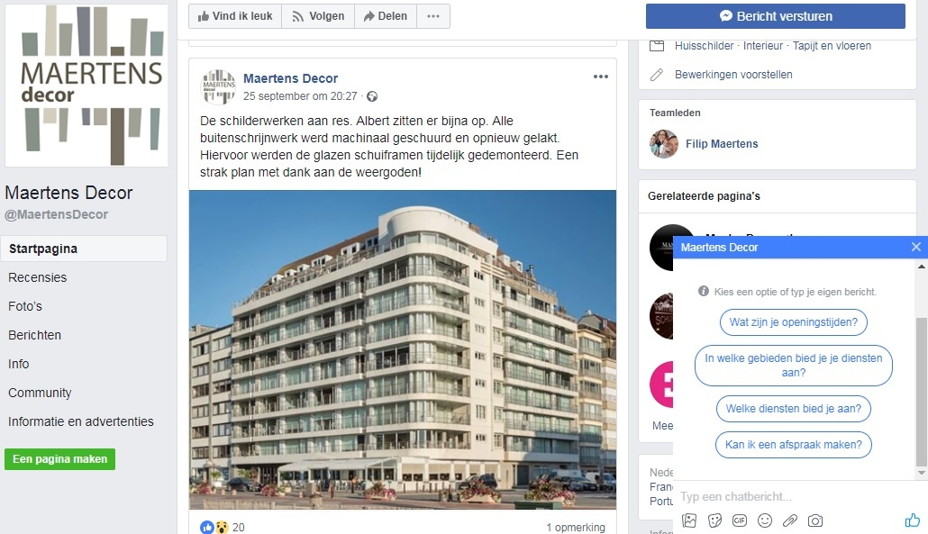 Facebook Maertens Decor met chat