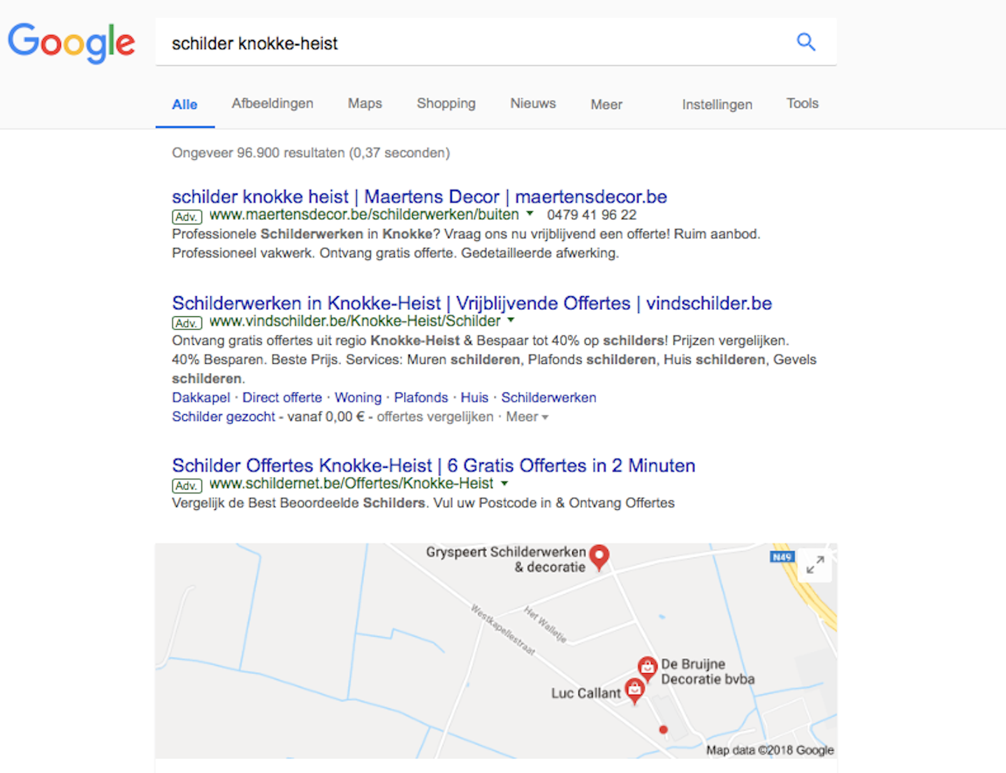 Maertens Decor Google Adwords bovenaan